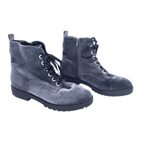 Mossimo Gray Velvet Lace Up Zipped Combat Boots 11